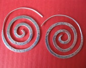 Sterling silver tribal SACRED SPIRAL earrings.  Very unique hammered handmade hoops.