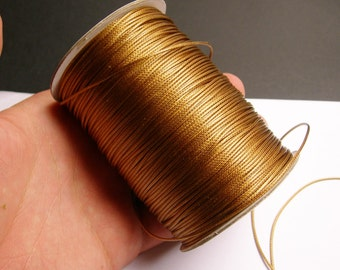 Polyester wax cord - 1mm - high quality - 160 meter - 524 foot - light brown - full roll -  PEC4