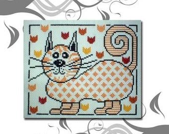 PDF Emailed Funky Cat Flowers Cross Stitch Pattern Sampler Chart Design 16