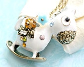 White Horse Pendant with Blue Flower Necklace, Rhinestone White Horse Jewelry, Animal Jewelry