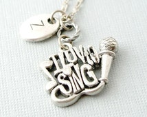 I love to Sing Necklace, Microphone Necklace,Initial Necklace, Initial Hand Stamped, Personalized, Antique Silver, Monogram