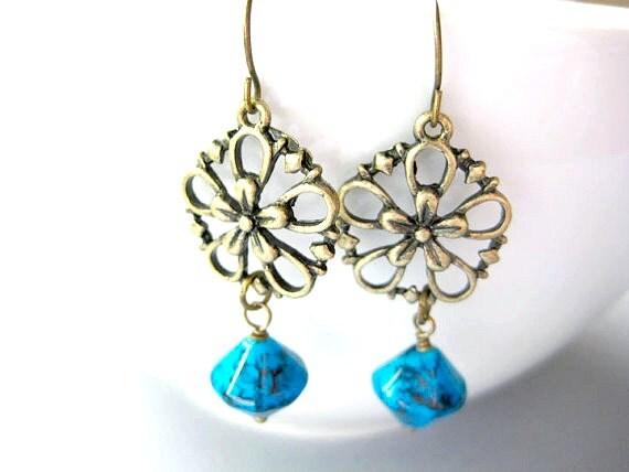 Flower Dangle Earring, Aqua Blue Floral Earrings, Flower Dangle Filigree Earrings