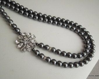 Bridal Pearl Necklace,Grey Swarovski Pearls,Grey Bridal Rhinestone Necklace,Bridal Statement Necklace,Wedding Pearl Necklace,Pearl,SAVANNAH