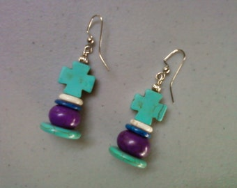 Turquoise, Purple, Blue and White Earrings (1243)