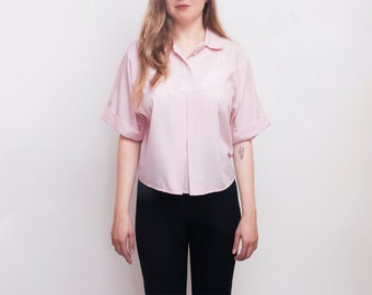 NOS vintage Pink box blouse top shirt size M or L oversized