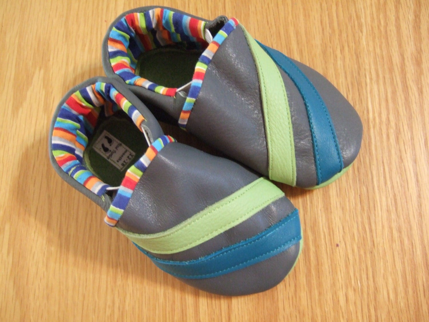 boy's gray striped shoes 12-18 months size 5 by ...