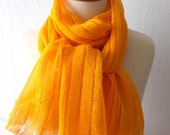 Linen Scarf Shawl Knitted Natural Summer Wrap in Yellow