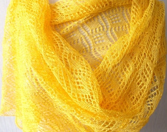 Linen Scarf Knitted Natural Summer Shawl in Yellow
