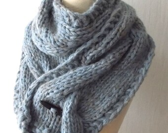 Chunky Scarf Big Cabled Blue Grey Cowl Hand Knitted Winter Accessory