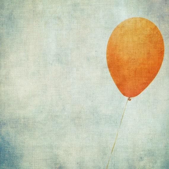Nursery Decor - Buoy -  Fine Art Photography Print - pastel aqua orange balloon