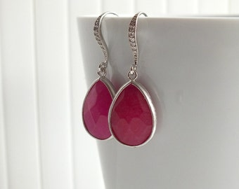 Ruby Red Quartz Earrings, Cubic Zirconia Ear wires - Also Available in Gold, Red Ruby Gold Earrings, Bridesmaid Earrings, Mom Jewelry