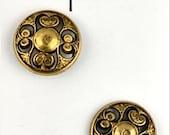 """LaPetite Buttons 3/4""""  Antique Gold Black Round La Petite Fashion Sewing Button 911"""