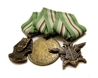 Steampunk Cosplay Medal // Custom DOUBLE CHARM Medallion // Green Brown Tan Ribbon