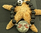 Red Dragonfly with Black Matte Onyx Signed Organic Bangle Bracelet OOAK