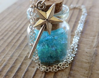 Jar of Stars Apothecary Jar Necklace with Blue Star Glitter and Silver Magic Wand Charm