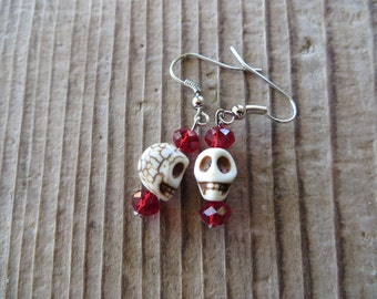 Ivory Howlite Turquoise Skulls and Red Crystal Earrings