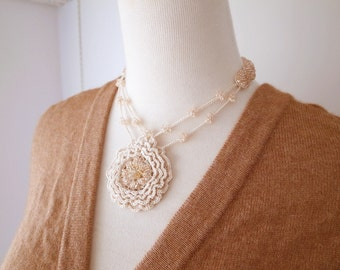Irish Crochet Lace Jewelry (Summer  Time I) Crochet Necklace, Fiber Art Jewelry