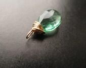Unique faceted SPEARMINT GREEN QUARTZ natural gemstone Interchangeable pendant, dangle, charm Diy Gold, Sterling Silver, Rose Gold, Oxidized