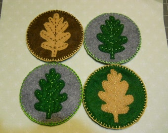 Felt Coasters with Oak Leaves in Gray Brown and Green  Set of 4     Felt Entertainment Accessories