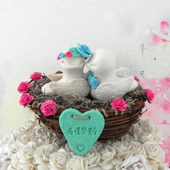 Rustic Wedding Cake Topper - Ivory, Fuchsia, Aqua and Mint Green, Love Birds in Nest - Personalized Heart, Keepsake