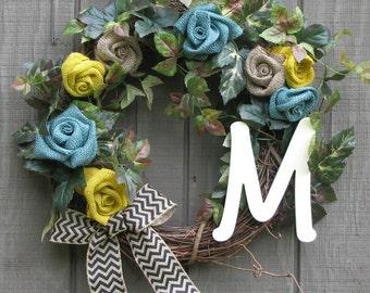 Burlap Monogram Wreath, Burlap Wreath, Outdoor Door Wreath, Front Door Wreath, Year Round Wreath