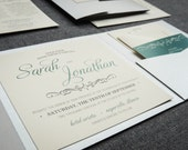Beach Wedding Invitations, Teal, Emerald, Dark Grey, Silver and Cream, Enchanting Vintage, Pocketfold Style, No Accent Layer, v2 - SAMPLE