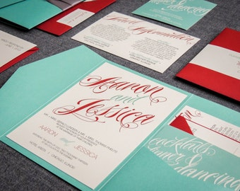 """Aqua and Red Invitations, Modern Invites, Pocketfold Invitation, Turquoise and Red - """"Sweeping Script"""" Pocketfold, No Layers, v3 - SAMPLE"""