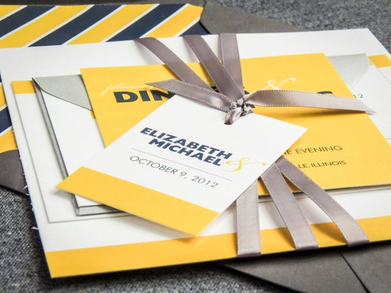 Nautical Wedding Invitations, Yellow, Grey and White, Striped Invitations, Bold Striped Modern - Flat Panel, No Accent Layers, v2 - SAMPLE
