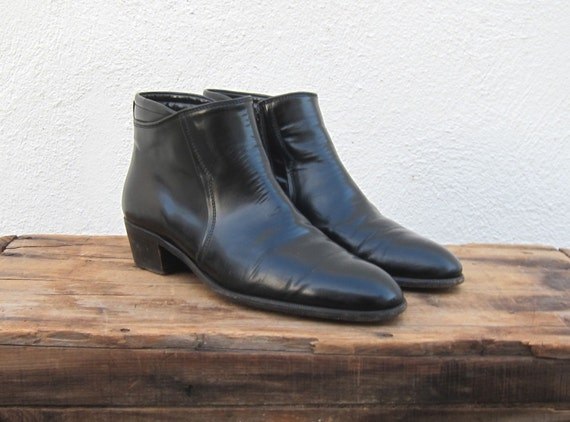 vintage italian black leather chelsea ankle boots by