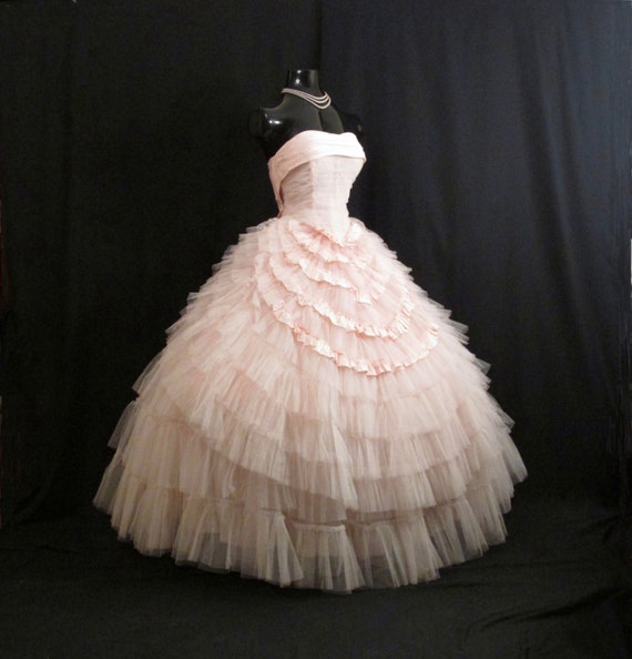 RESERVED Vintage 1950's 50s Bombshell STRAPLESS Pink Tulle