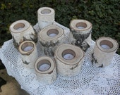 8  Individual White Birch Votive Candle Holders Perfect for Weddings, Christmas Decorations, Centerpieces