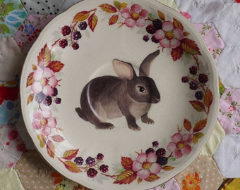 Juno Bunny With Blackberry Floral Vintage Illustrated Plate
