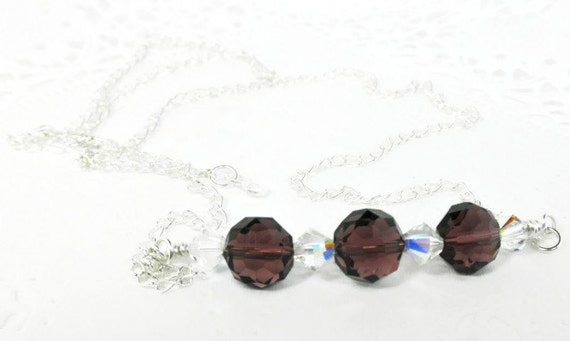 Plum Glass Bead, Swarovski AB Crystals, & Silver Plated Chain Necklace