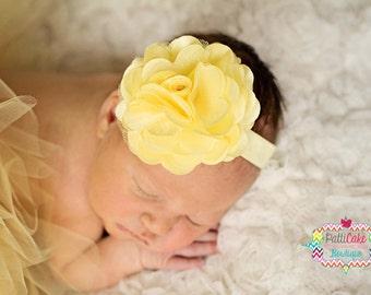 Newborn Headband, Yellow Flower Headband, Infant Headband, Yellow Headband, Toddler Headband, Baby Flower Headband, Flower Girl Headband, 05