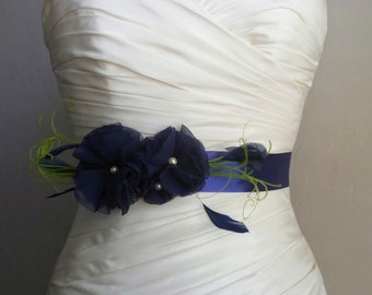 Navy Blue Wedding Sash, Navy Blue Bridal Belt, Navy Blue Bridal Sash, Navy Blue Bridal Belt, Navy Blue Wedding, Bridal Accessories, Lucky