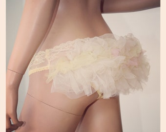 Lace Panties Bustle Steampunk Lingerie Knickers Kawaii Ruffle Stretch Lace Ruffle Tutu - CHRISST