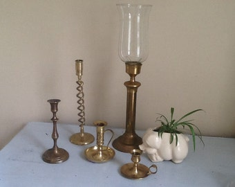 Brass Candle Stick Collection / Vintage Brass Candlestick / Brass Candle Holder