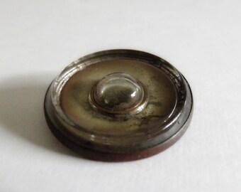 Glass Set in Copper Button