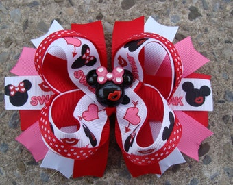 Valentine Minnie Mouse Hair Bow-Large Hair bow - Red and Black Minnie Mouse Hair Bow
