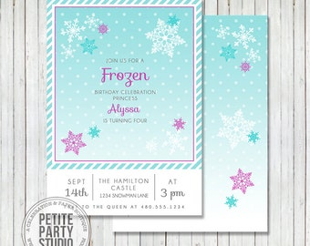 Winter Snow Princess Printable Party Invitation - Birthday or Baby Shower - Petite Party Studio