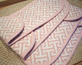 Sale Mini Pink White Print Cotton Fabric Flat Curling Iron Two Pockets Travel Storage Case