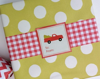 Red Truck Christmas Labels