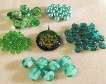Green Bead Soup Glass Pendant Snowflake Shamrock