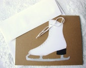 Ice Skate Cards Christmas Holiday Card Set Blank Thank You