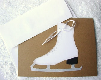 Ice Skate Cards Skating Party Thank You Card Blank Christmas Holiday Stationery Note Card Set of 4