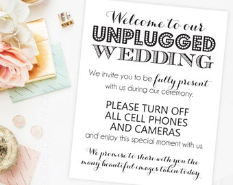Unplugged Wedding Sign Digital Social Media INSTANT DOWNLOAD 8x10 Printable PDF