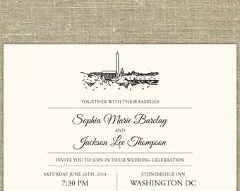 Washington DC Skyline Destination - Wedding invitation SAMPLE ONLY