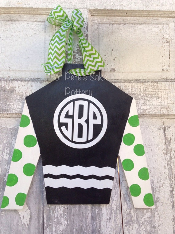 Monogrammed, Derby, horse racing, horse farm, Jockey silk, door hanger, wall hanging and derby party sign