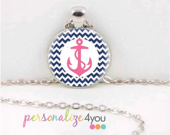 Preppy Pink Anchor Necklace With Blue Chevron