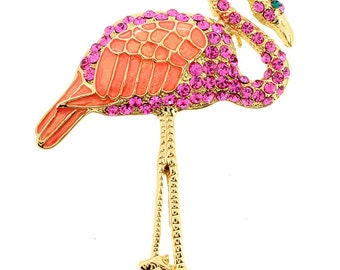 Pink Flamingo Crystal Pin Brooch 1002433